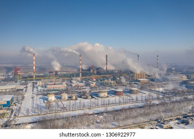 Dabrowa Gornicza, Poland - February 05, 2019: Aerial view of power plant and coal storage. Photo captured with drone.