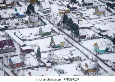 Dachas in Russia. Winter view from the top