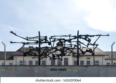 DACHAU: Dachau camp, the first concentration camp in Germany during World War II, historic buildings and outdoor field in camp, Dachau, German : April 2, 2019