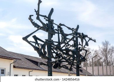 Dachau, German : April 2, 2019- Dachau memorial sculpture inspired by emaciated bodies of prisoners and barbed wire fences. Dachau, Germany. Dachau Concentration camp memorial.