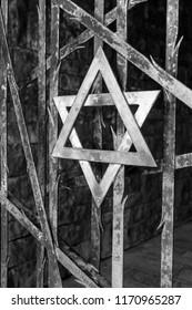 Dachau. Germany. 08.03.16. Jewish Star of David in Dachau Nazi concentration camp in Germany