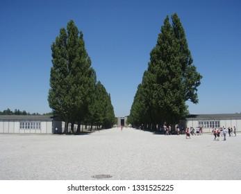 Dachau, Germany - Jun18 2010: Entrance to Dachau concentration camp memorial