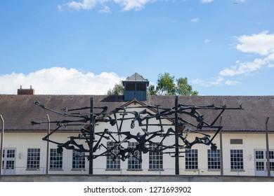 Dachau, Germany, June 27 2018: Sculpture at Dachau on sunny day