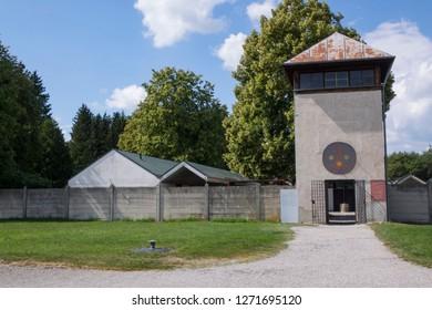 "Dachau, Germany, June 27 2018: Carmelite Convent ""Heilig Blut"" at Concentration Camp Dachau"