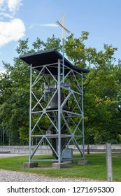 Dachau, Germany, June 27 2018: Bell tower at Dachau Concentration Camp