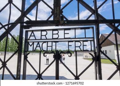 Dachau, Germany, June 27 2018: Arbeit Macht Frei entrance at Dachau Camp