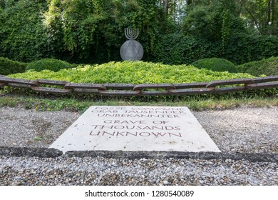 Dachau, Germany, June 27 2018: Grave of thousands unknown at Dachau camp