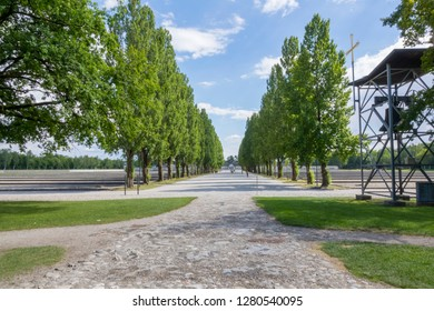 Dachau, Germany, June 27 2018: Looking down alley of trees at Dachau concentration camp with Bell Tower in view