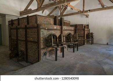 Dachau, Germany, June 27 2018: Inside of Crematorium at Dachau Concentration Camp