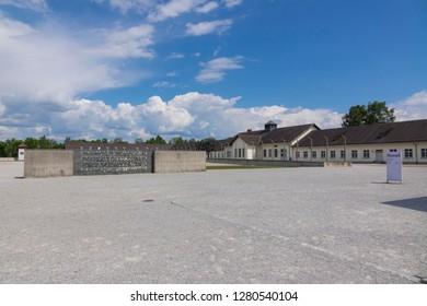 Dachau, Germany, June 27 2018: Overlooking Dachau Museum