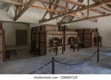 Dachau, Germany, June 27 2018: Ovens at crematorium in Dachau Camp