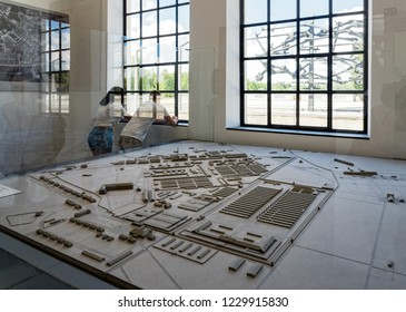 Dachau, Germany  - June 3, 2018: Tourists visit the museum of the Dachau Concentration Camp near Munich