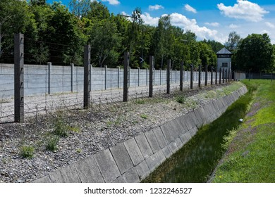 Dachau, Germany - June 3, 2018: Part of the wire fence of the Dachau Concentration Camp near Munich