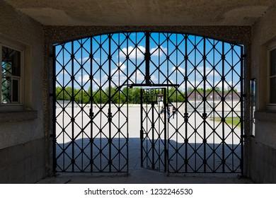Dachau, Germany - June 3, 2018: The entrance gate of the Dachau Concentration Camp near Munich