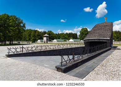 Dachau, Germany - June 3, 2018: View of the Israelite Memorial, erected in 1967, in the Dachau Concentration Camp near Munich