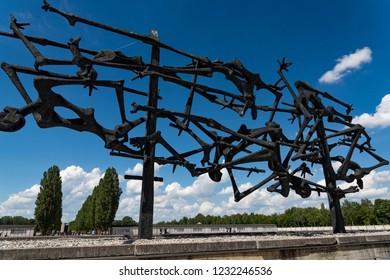 Dachau, Germany - June 3, 2018: The Memorial sculpture, erected in 1968 by Nandor Glid, in the Dachau Concentration Camp near Munich
