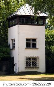 DACHAU, GERMANY - MARCH 14, 2019: Dachau Nazi Concentration Camp watchtower