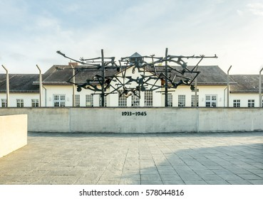 DACHAU - OCTOBER 13 :  Dachau camp, the first concentration camp in Germany during World War II, historic buildings and outdoor field in camp, Dachau, Germany, on October 13, 2016.