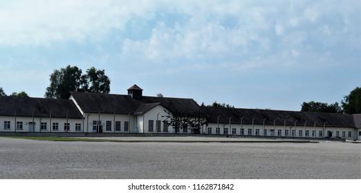 Dachau, State of Bavaria/Germany - July 2018 Dachau in Color and Greenery Guard Barracks of Dachau