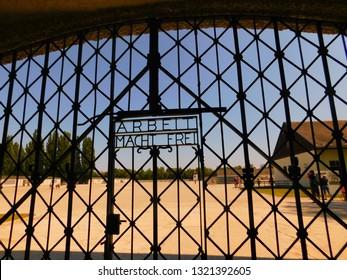 """Dachau/Germany - 08.16.2018: ""Famous caption on Dachau gate: work makes you free"""""