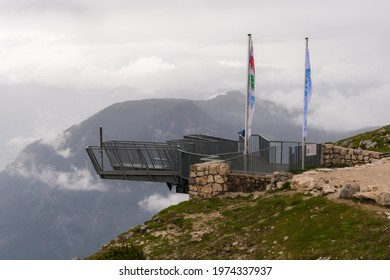 Dachstein, Austria - June 25th, 2020: the 5fingers plattform with a 400m drop offers an adrenaline rush at one of the most spectacular views in the Alps.