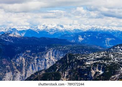 Dachstein austrian Alps mountains aerial panoramic view from Five Fingers viewpoint in Salzkammergut region, Austria