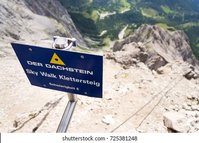 Dachstein Sky Walk climbing path Difficulty E via ferrata sign