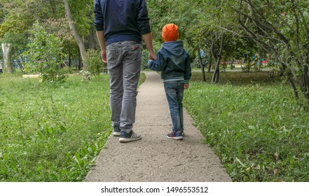 Dad and child walking on the asphalt path in the Park. Rear view - a man and a boy holding hands and walking along the plantings. Family outdoors in early autumn. Walk through ecological areas.