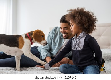 Dad and cute girl playing with dog.