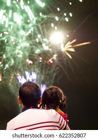 Dad, Daughter and Fireworks
