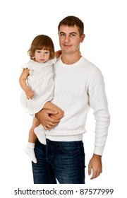 Dad and daughter in the studio on a white background