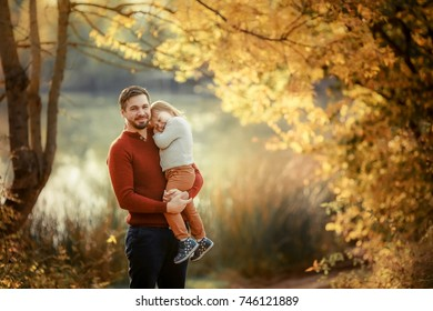 Dad and daughter, wonderful moments in autumn
