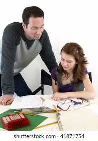 Dad helps Daughter Study
