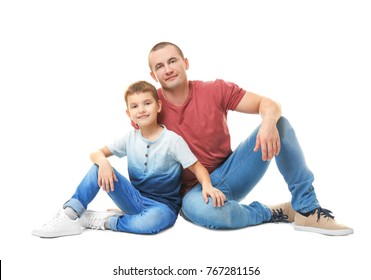Dad and his son on white background