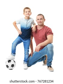Dad and his son with soccer ball on white background