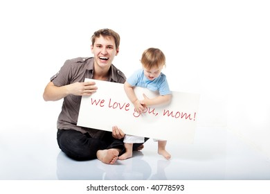 dad and little son making a declaration of love to their mom