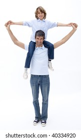 Dad and son playing together against white background