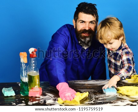 Dad Withsmiling Face And Son With Cleaning Supplies On Blue Background Kid With Father Cleaning