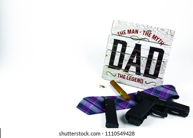 Dad wooden board with cigar and shot gun