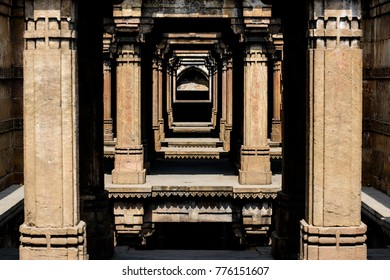 Dada Harir Step Well, a 15th century water hole built by Mohammad Begda in Ahmedabad, India
