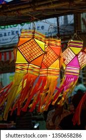 Dadar Mumbai Maharashtra India November 4 2018  Colorful Modern Lanterns in Various Shapes Akash kandil ( Diwali decorative lamps ) Hang out side shop for sale celebrating Diwali Festival