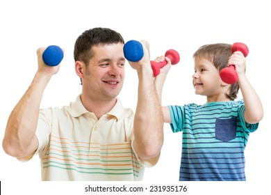 daddy and kid son do exercises with dumbbells together