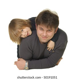 The daddy with the son. It is isolated on a white background
