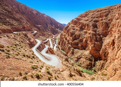 Dades Gorge is a gorge of Dades River in Atlas Mountains in Morocco. Dades Gorge depth is from 200 to 500 meters.
