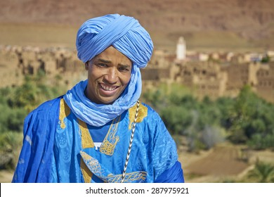 DADES VALLEY, MOROCCO - MARCH 02: Portrait of unidentified Berber man with djellaba and turban on March 02, 2015 Morocco. Berber are an ethnic group in North Africa.