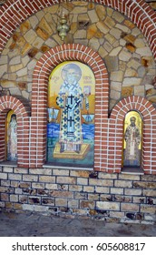 DADIA, EASTMACEDONIA, GREECE - SEPTEMBER 17: Wayside shrine for Saint Nicolaus on front orthodox church in Eastmacedonia, on September 17, 2016 in Dadia, Greece