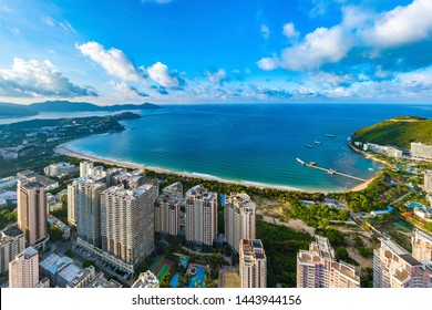 Dadonghai Recreational Beach at Sanya, Hainan Province, China, Asia. Aerial View of Coastal Landscape with Hotels, Resorts and Apartment Buildings at the Tropical Island.