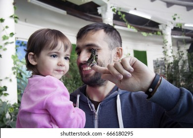 Dady shows to his daughter a butterfly