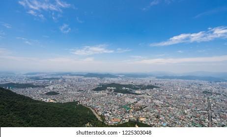 Daegu city seen from the mountain
