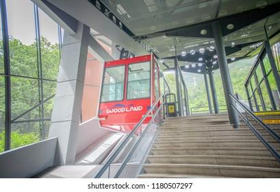 Daegu, Korea: August 28,2018: Apsan Observatory, Daegu Apsan Park Cable Car. Apsan Park is one of the largest urban-eco parks in Daegu,As a major leisure place for Daegu citizens